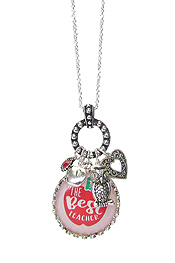 TEACHER INSPIRATION MULTI CHARM CABOCHON NECKLACE - THE BEST TEACHER