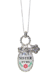 SISTER INSPIRATION MULTI CHARM CABOCHON NECKLACE - BEST SISTER EVER