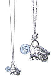 CAT LOVERS MULTI CHARM CABOCHON LONG NECKLACE - CAT MOM