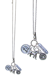 DOG LOVERS MULTI CHARM CABOCHON LONG NECKLACE - DOR MOM