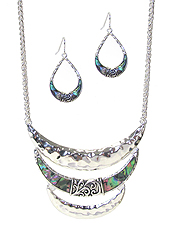 DESIGNER TEXTURED AND ABALONE TRIPLE CRESCENT BAR NECKLACE SET