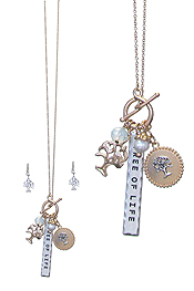 RELIGIOUS INSPIRATION MULTI CHARM TOGGLE NECKLACE SET - TREE OF LIFE
