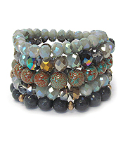MULTI FACET STONE MIX 5 STRETCH BRACELET SET