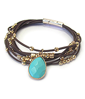 SEMI PRECIOUS STONE AND MULTI CORD MAGNETIC BRACELET