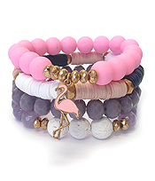 FLAMINGO CHARM AND MULTI STONE MIX 4 STRETCH BRACELET SET