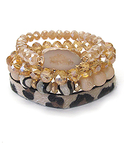 ANIMAL PRINT FAUX LEATHER AND MULTI STONE MIX 4 STRETCH BRACELET SET - DRUZY