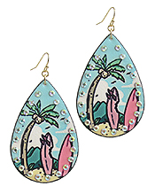 TROPICAL THEME LEATHERETTE TEARDROP EARRING