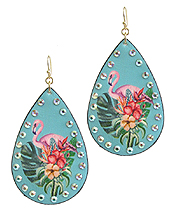 TROPICAL THEME LEATHERETTE TEARDROP EARRING - FLAMINGO