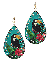 TROPICAL THEME LEATHERETTE TEARDROP EARRING - TOUCAN