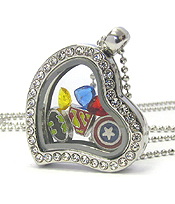 ORIGAMI STYLE FLOATING CHARM HEART LOCKET PENDANT NECKLACE - SUPER HERO - LOCKET OPENS AND CHARMS INCLUDED