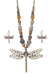 METAL FILIGREE DRAGONFLY PENDANT AND MULTI BEAD CHAIN NECKLACE SET