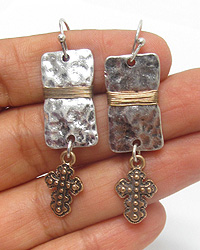 ANTIQUE SILVER PLATE AND CROSS DROP EARRING