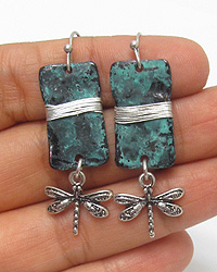 PATINA PLATE AND DRAGONFLY DROP EARRING
