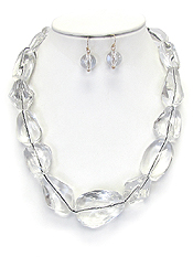 CHUNKY LUCITE ICE CHAIN NECKLACE SET - NUDE FASHION TREND