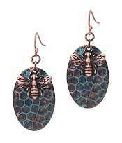 VINTAGE RUSTIC METAL BEE AND HIVE EARRING