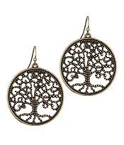METAL FILIGREE TREE OF LIFE EARRING