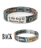 RELIGIOUS INSPIRATION MESSAGE STRETCH BRACELET - PRAYER IS THE KEY TO HEAVEN BUT FAITH UNLOCK THE DOOR