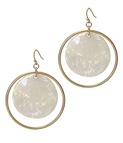 ORGANIC CELLULOSE DISC AND METAL HOOP DROP EARRING