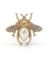 CRYSTAL AND PEARL BEE ADJUSTABLE RING