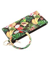 KEYRING BANGLE BRACELET WITH THREE COMPARTMENT PHONE WALLET - TROPICAL THEME
