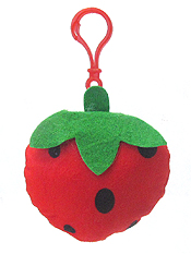 STUFFY PILLOW FRUIT KEY CHAIN - STRAWBERRY
