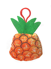 STUFFY PILLOW FRUIT KEY CHAIN - PINE APPLE