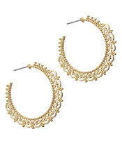 METAL FILIGREE HOOP EARRING