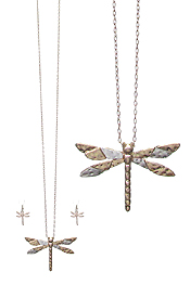 DRAGONFLY PENDANT LONG NECKLACE SET