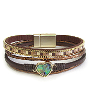 MULTI LAYER LEATHERETTE AND HEART MAGNETIC BRACELET