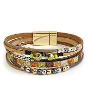 MULTI LAYER LEATHERETTE AND MIXED BEAD MAGNETIC BRACELET