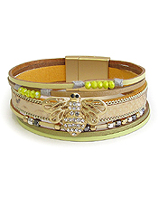 MULTI LAYER LEATHERETTE AND CRYSTAL BEE MAGNETIC BRACELET