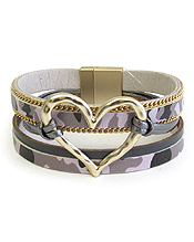 MILITARY LOOK CAMOUFLAGE MULTI LAYER LEATHERETTE MAGNETIC BRACELET - HEART