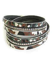 MILITARY LOOK CAMOUFLAGE MULTI LAYER DOUBLE WRAP LEATHERETTE MAGNETIC BRACELET