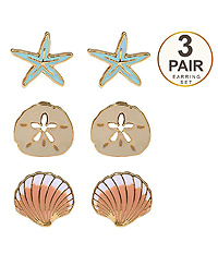 SEALIFE INSPIRED SET OF THREE EARRING SET Starfish Sand Dollar Shell