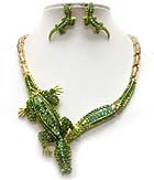 LUXURY CLASS VICTORIAN STYLE AUSTRIAN CRYSTAL CROCODILE NECKLACE EARRING SET