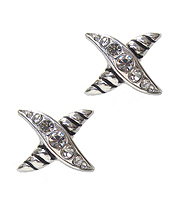 DESIGNER TEXTURED X SHAPE EARRING