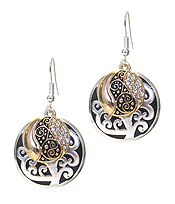DESIGNER TEXTURED DOUBLE DISC EARRING