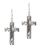 DESIGNER TEXTURED DOUBLE CROSS EARRING