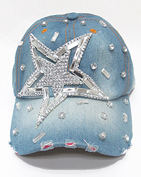 RHINESTONE WORN DENIM BASEBALL CAP - STAR