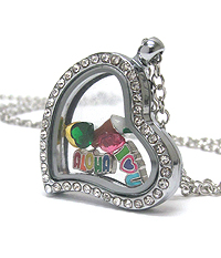 ORIGAMI STYLE FLOATING CHARM HEART LOCKET PENDANT NECKLACE -  ALOHA - LOCKET OPENS AND CHARMS INCLUDED