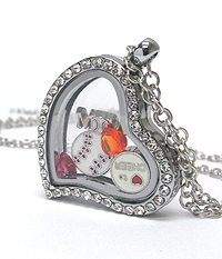 ORIGAMI STYLE FLOATING CHARM HEART LOCKET PENDANT NECKLACE - BASEBALL MOM - LOCKET OPENS AND CHARMS INCLUDED