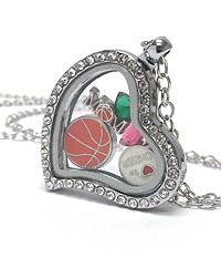 ORIGAMI STYLE FLOATING CHARM HEART LOCKET PENDANT NECKLACE - BASKETBALL MOM - LOCKET OPENS AND CHARMS INCLUDED