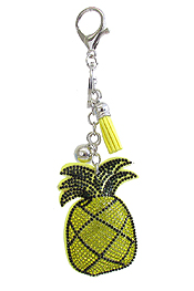 MULTI CRYSTAL LARGE PUFFY CUSHION KEY CHAIN - PINEAPPLE