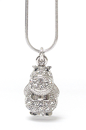 WHITEGOLD PLATING CRYSTAL HIPPO PENDANT NECKLACE