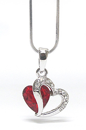 WHITEGOLD PLATING CRSYTAL HEART PENDANT NECKLACE