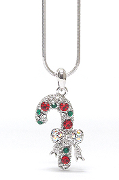 WHITEGOLD PLATING MULTI COLOR CRYSTAL CHRISTMAS CANDY CANE STICK PENDANT NECKLACE