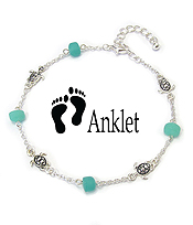 SEA GLASS AND TURTLE ANKLET