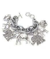 MULTI ELEPHANT CHARM CHUNKY TOGGLE BRACELET