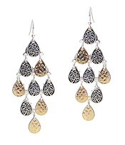 DESIGNER TEXTURED MULTI TEARDROP CHANDELIER EARRING