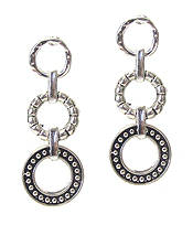 DESIGNER TEXTURED MULTI RING DROP EARRING